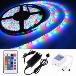 RGB LED лента с дистанционно и захранване - 5 метра
